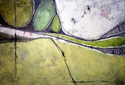 Abstract Impression Painting - Birthland Scape I by Ron Weijers