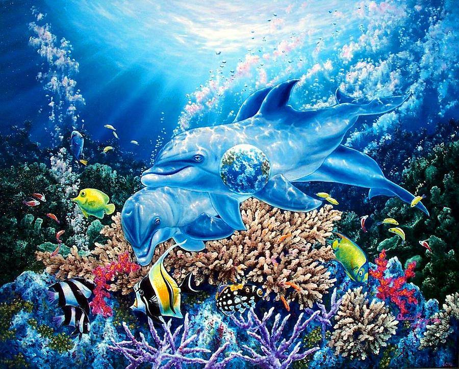 Dolphin Painting - Birthright by Daniel Bergren