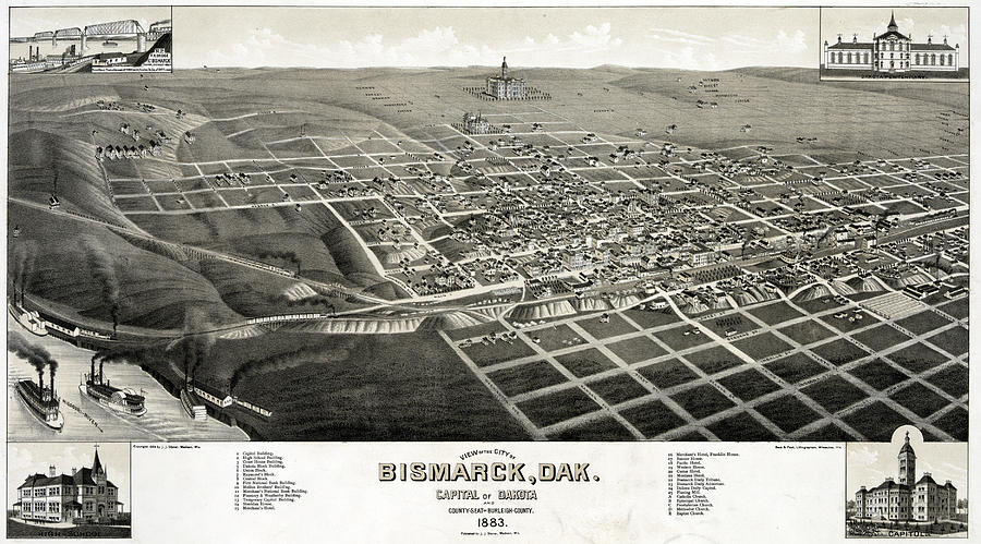 1880s Photograph - Bismarck, North Dakota, The Capital by Everett
