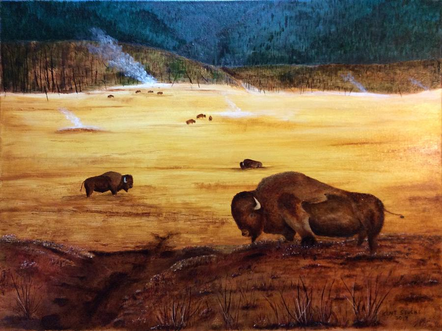 Bison Painting - Bison And Geysers by Kent Stucky