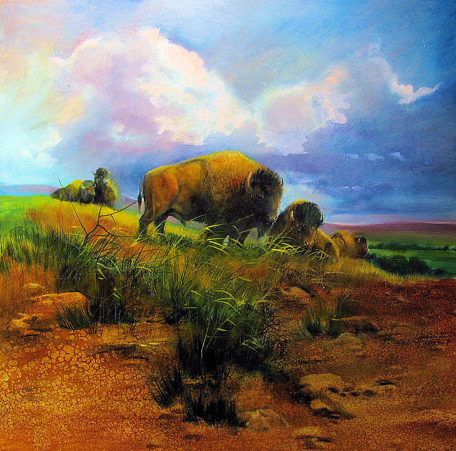 Bison Painting - Bison Bluff by Robert Carver