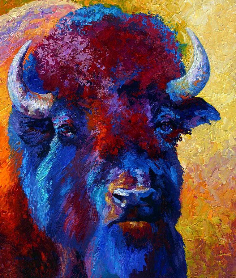 Wildlife Painting - Bison Boss by Marion Rose