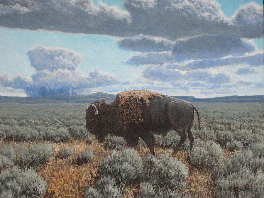 Landscape Painting - Bison Bull on the prairie by Scott Robertson