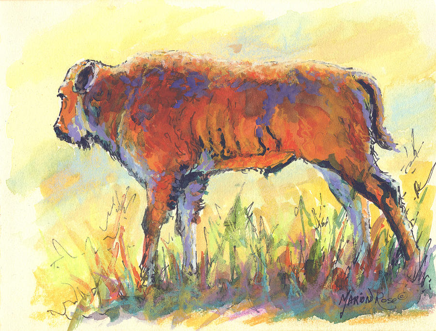 Bison Painting - Bison Calf by Marion Rose