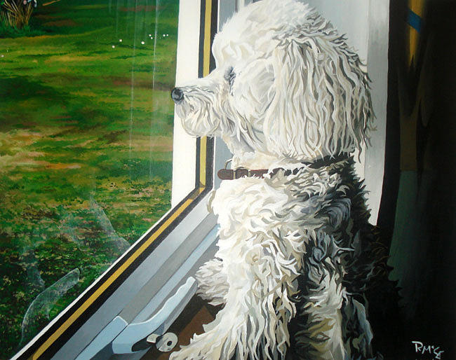 Dog Portrait Painting - Bison Frize At Window by Rick McGroarty