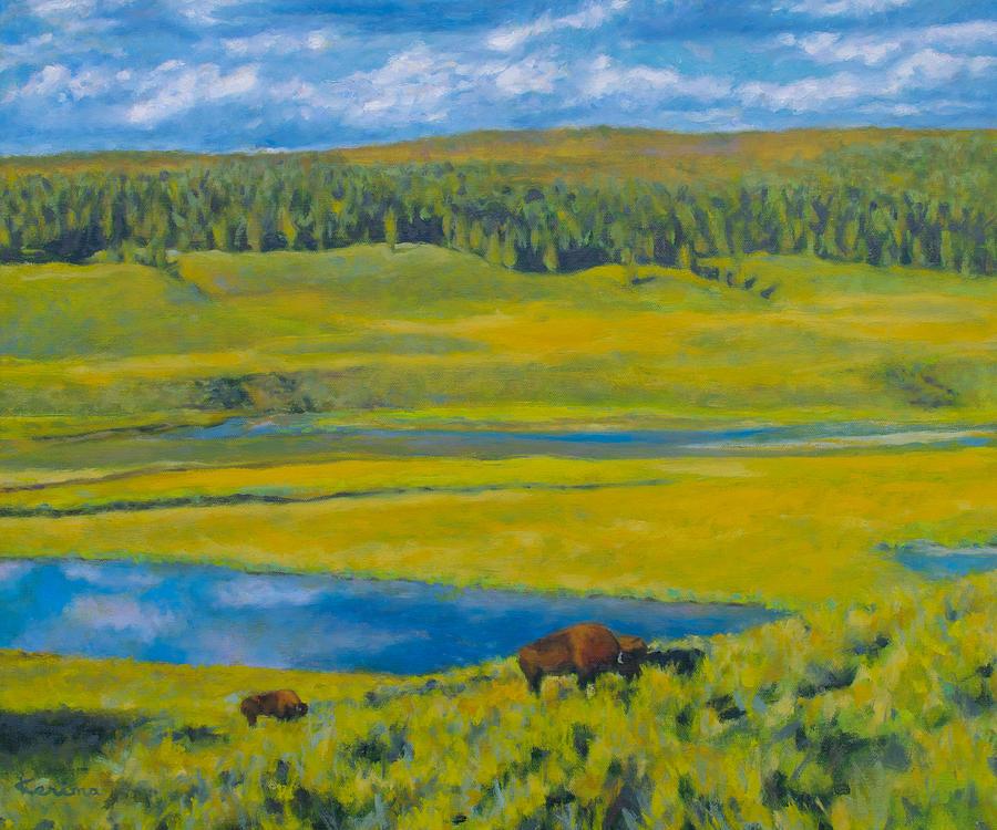 Bison Grazing in Yellowstone by Kerima Swain