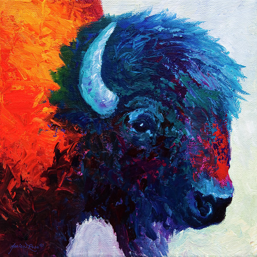 Bison Painting - Bison Head Color Study I by Marion Rose
