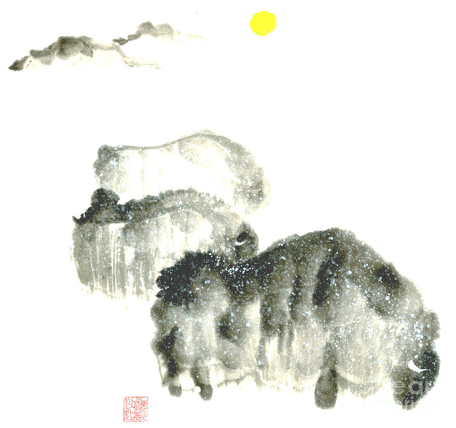 Bison In Snow II Painting by Mui-Joo Wee