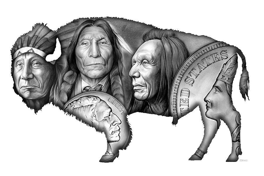 Bison Indian Montage 2 Digital Art