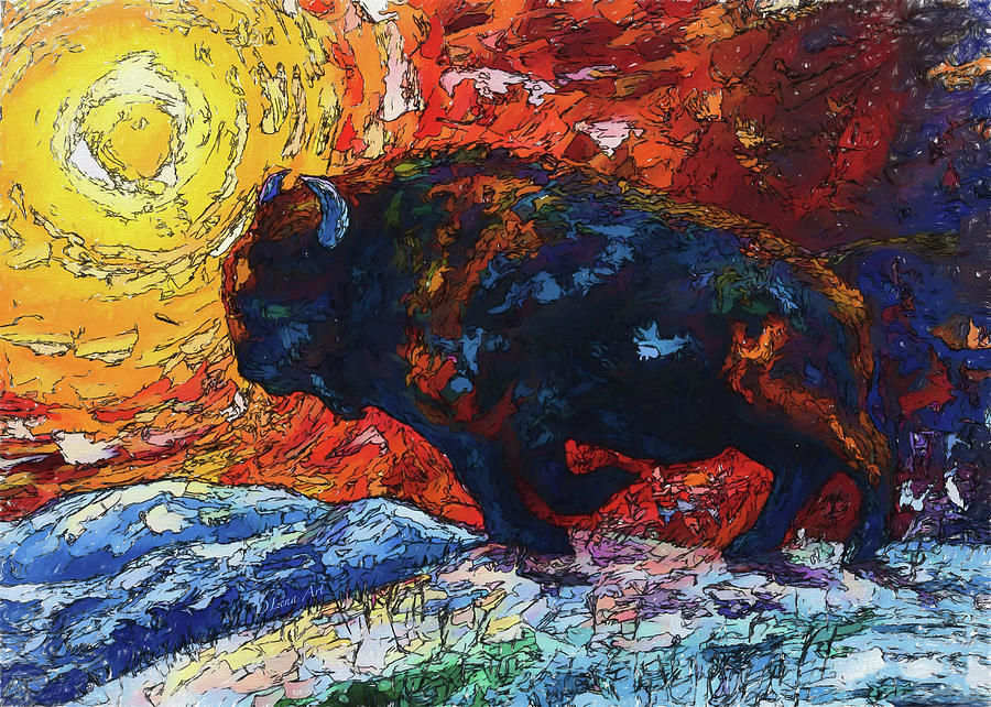Bison Running Print Of Olena Art Wild The Storm Oil Painting With Palette Knife Painting