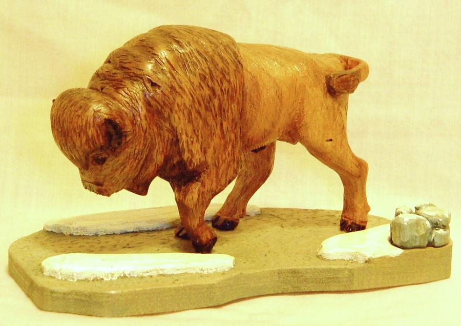 Woodcarving Sculpture - Bison  by Russell Ellingsworth