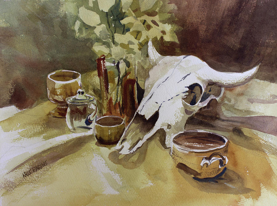Wisconsin Artist Painting - Bison and Bowls by Kris Parins