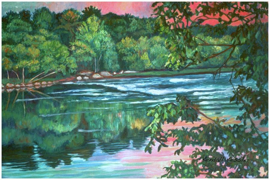River Painting - Bisset Park Rapids by Kendall Kessler