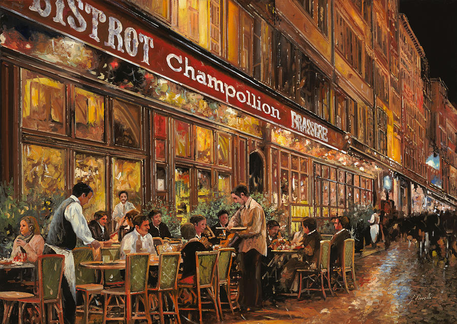 Street Scene Painting - Bistrot Champollion by Guido Borelli