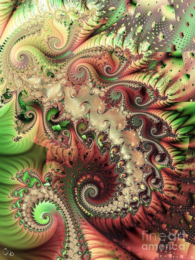 Spiral Digital Art - Bisymmetric Spiral Spring by Ron Bissett