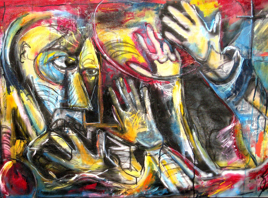 Abstract Painting - Bite The Hand That Feeds  by Jon Baldwin  Art
