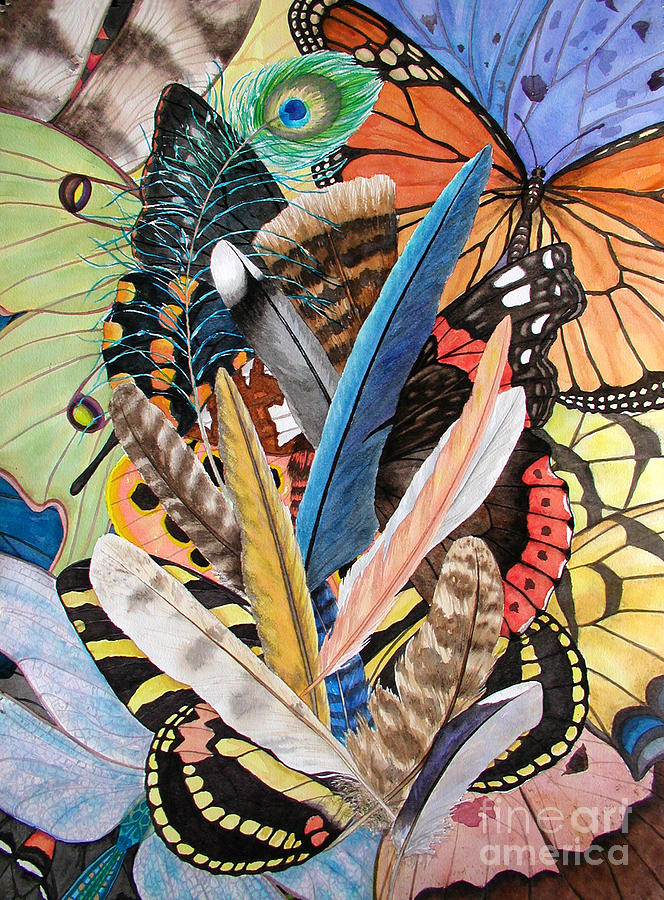Feathers Painting - Bits of Flight by Lucy Arnold