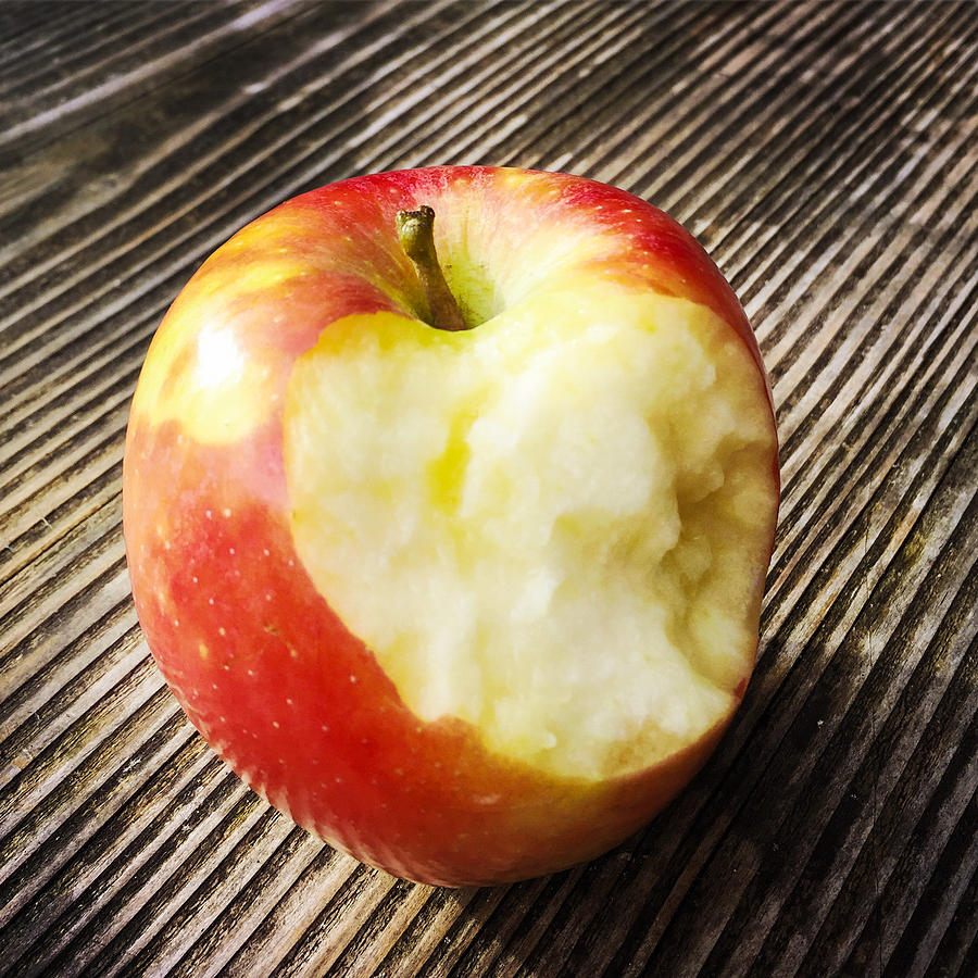 Apple Photograph - Bitten red apple by Matthias Hauser
