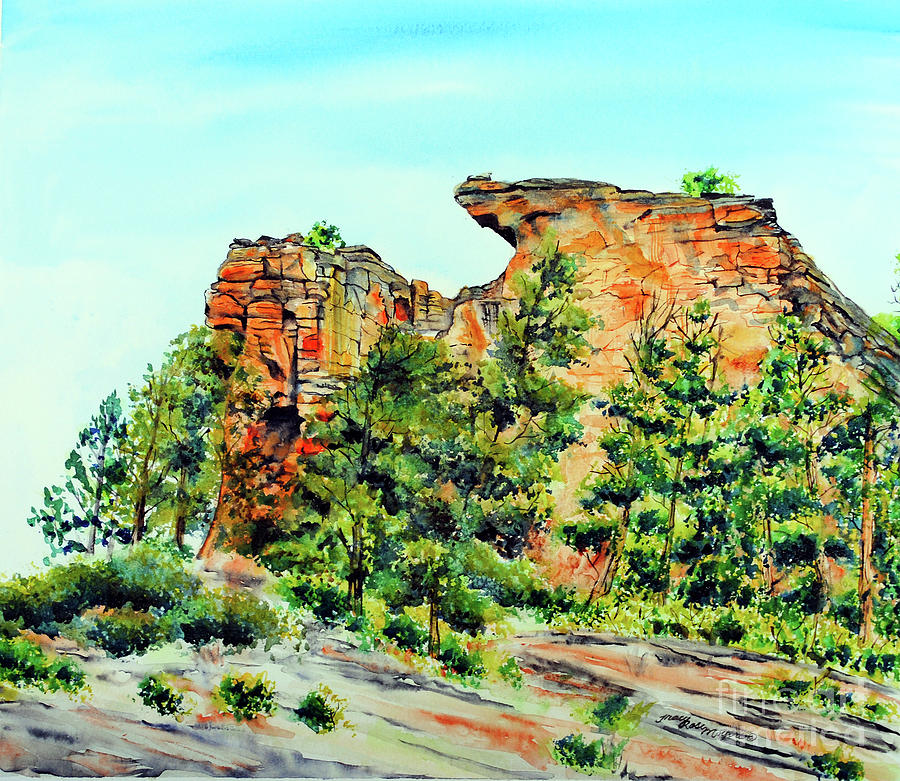 Landscape Painting - Bitterroot Cliffs by Tracy Rose Moyers