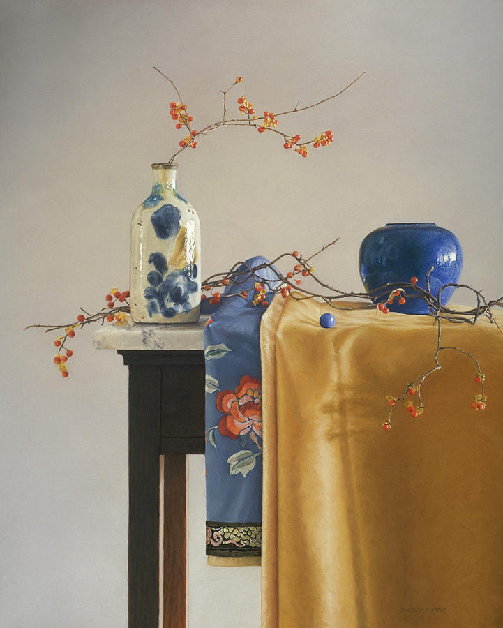 Still Life Painting - Bittersweet with Blue by Barbara Groff
