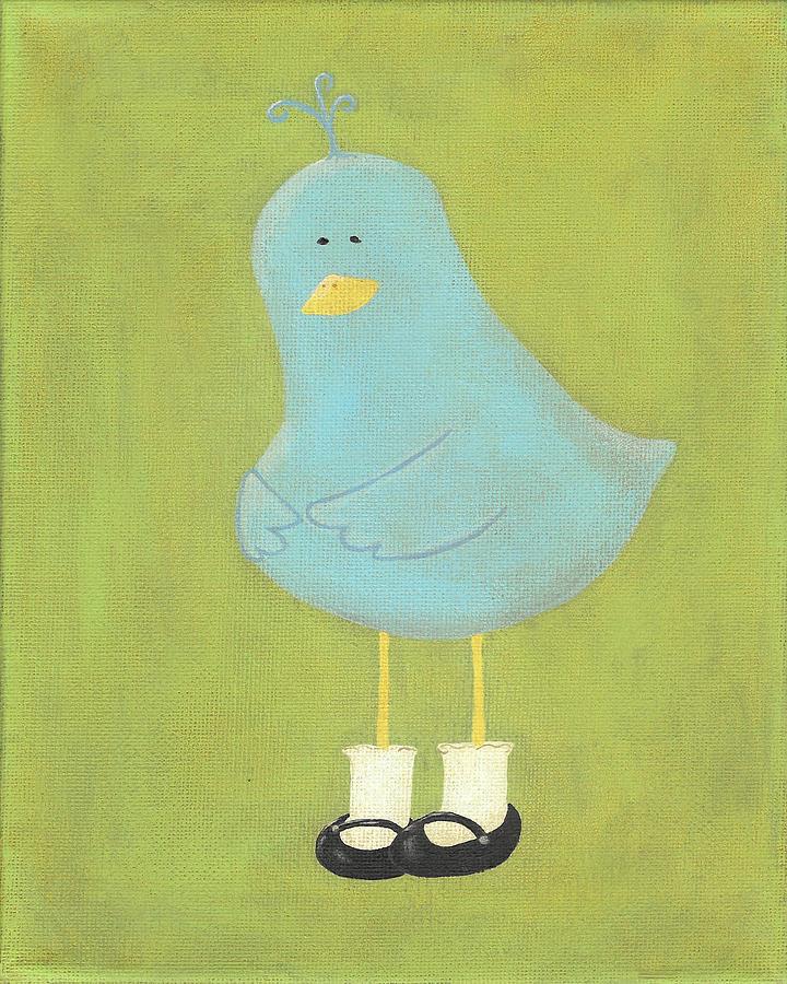 Bluebird Painting - Bitty Birds New Shoes Nursery Art by Katie Carlsruh