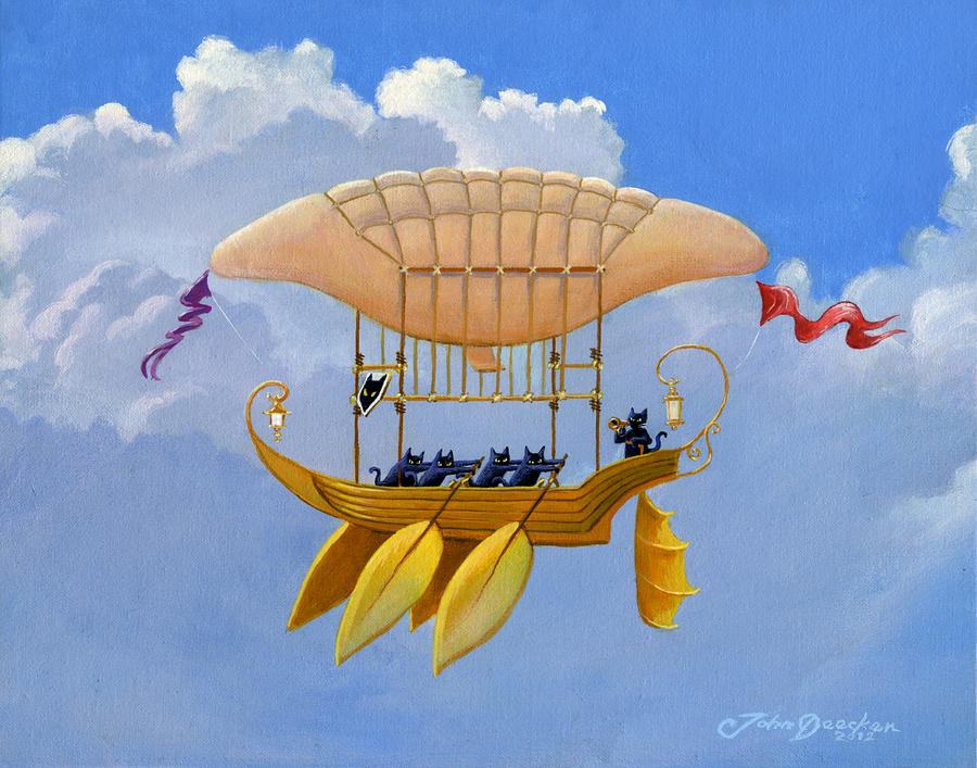 Bizarre Feline-Powered Airship by John Deecken