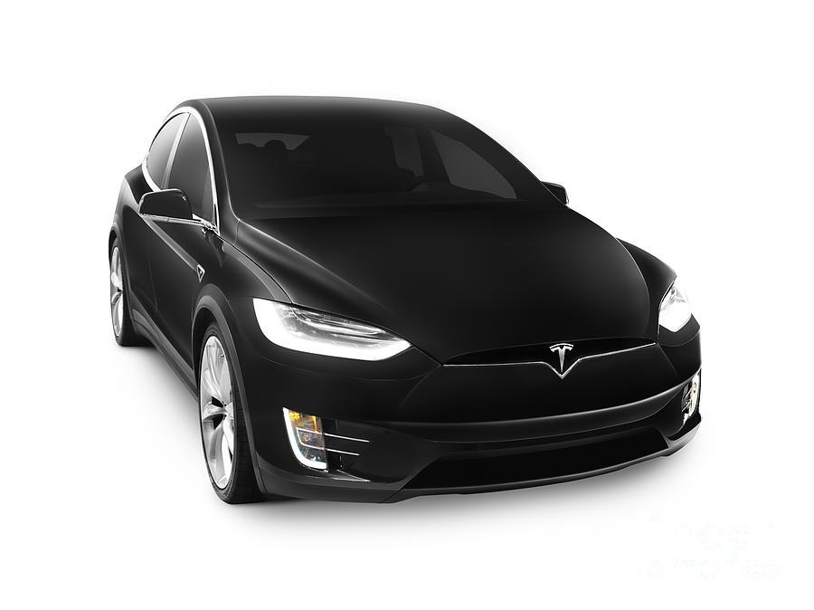 Black 2017 Tesla Model X Luxury Suv Electric Car Isolated ...