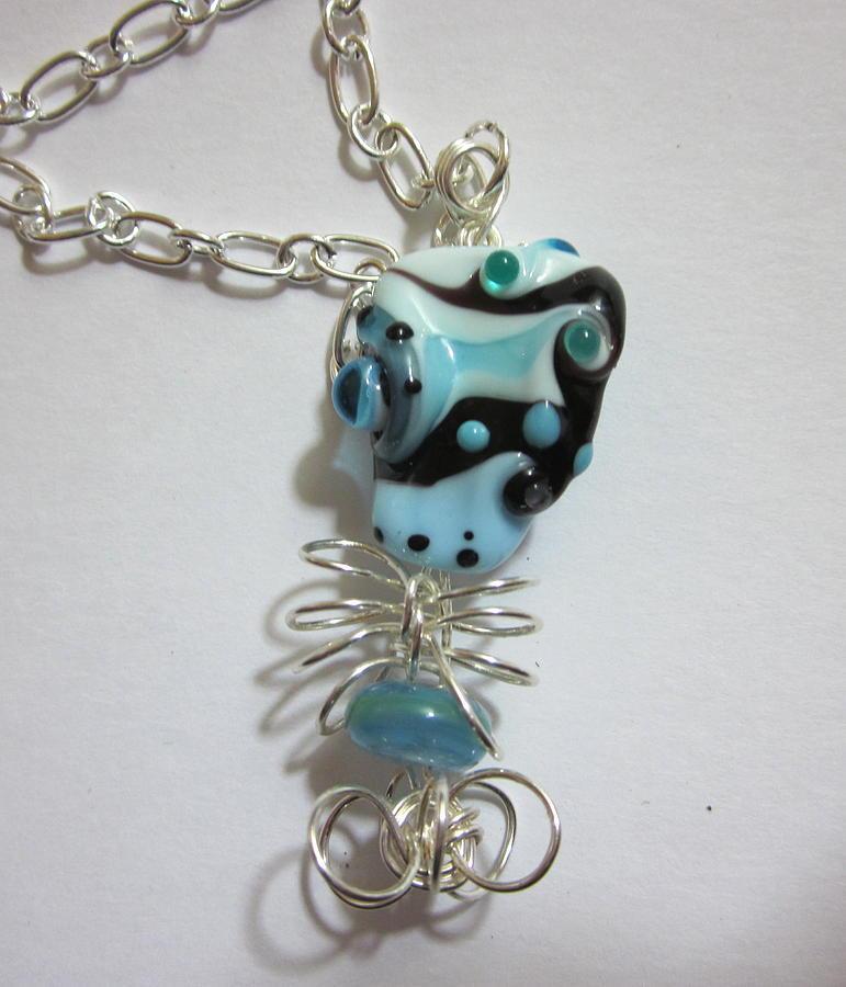 Lampwork Bead Jewelry - Black And Blue by Janet  Telander