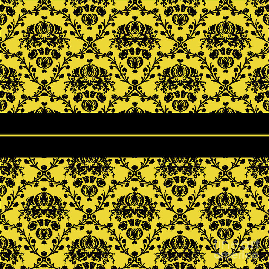 Black And Canary Yellow Damask Digital Art by Anne Kitzman