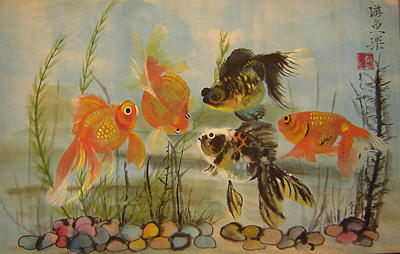 Fish Painting - Black And Golden Friendship by Lian Zhen