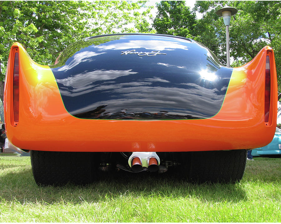 Street Rod Photograph - Black And Orange Henry J by Tom Tripp
