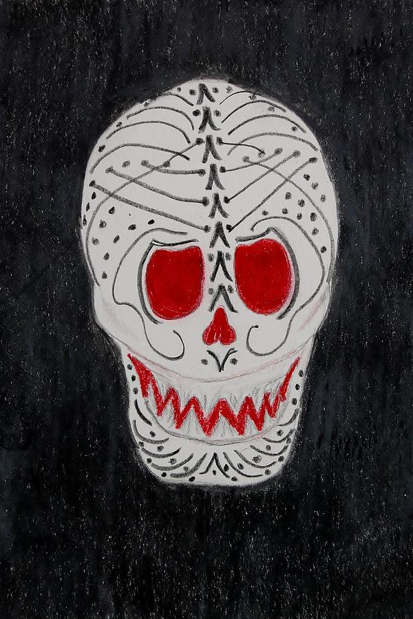 Skull Mixed Media - Black And Red by Charla Van Vlack