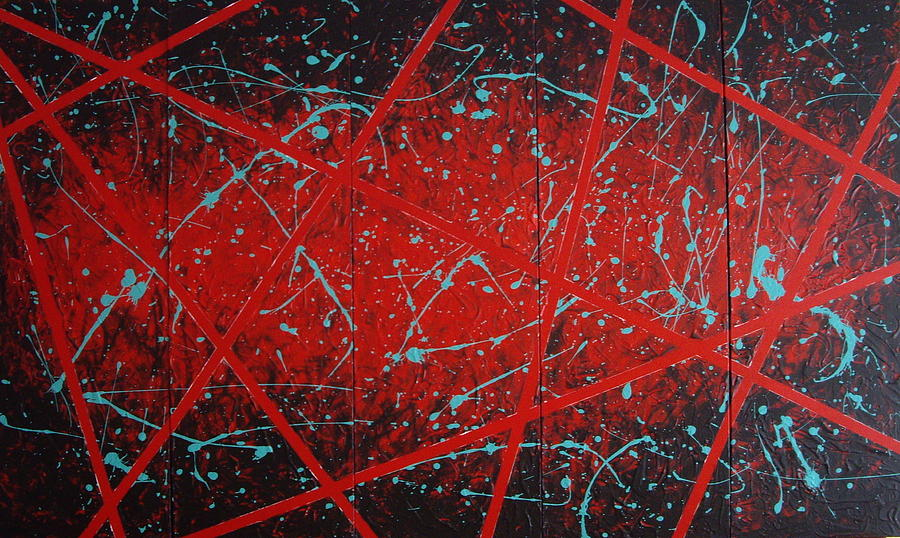 Teal Painting - Black And Red Five by Julie Ringer