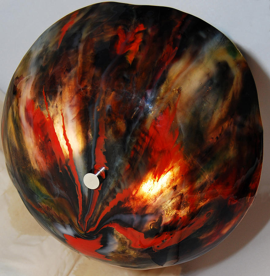 Black  And Red Lamp Glass Art by Abbe Gore