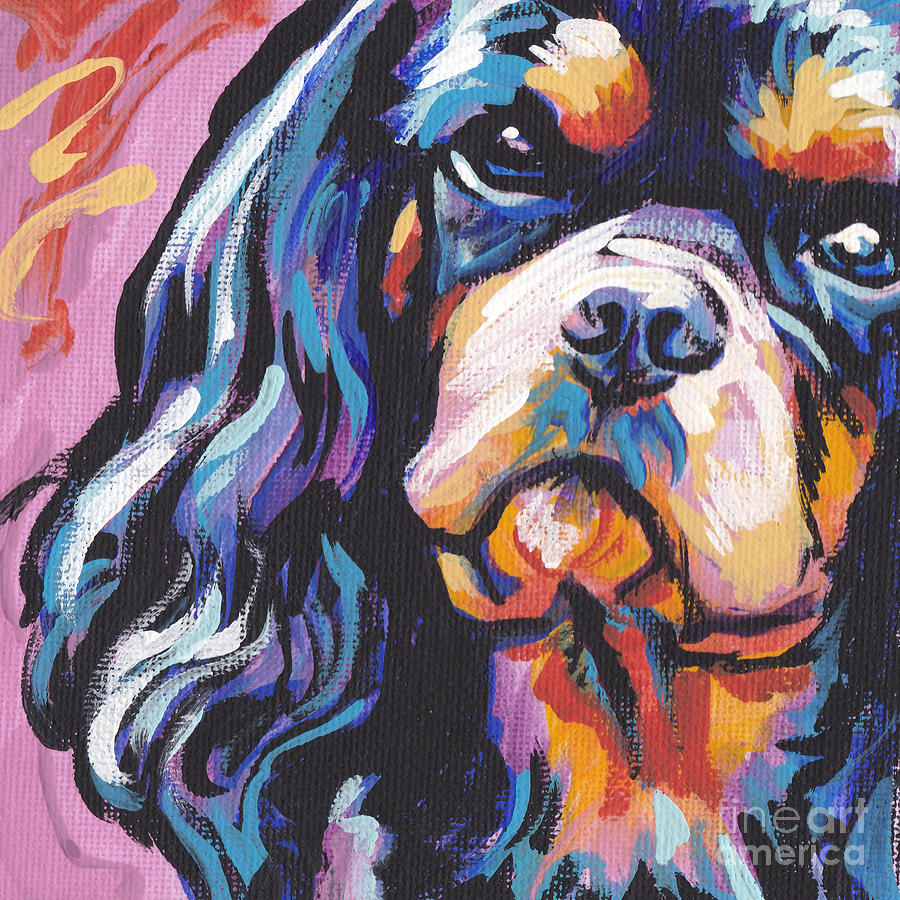 Cavalier King Charles Spaniel Painting - Black And Tan Cav by Lea S