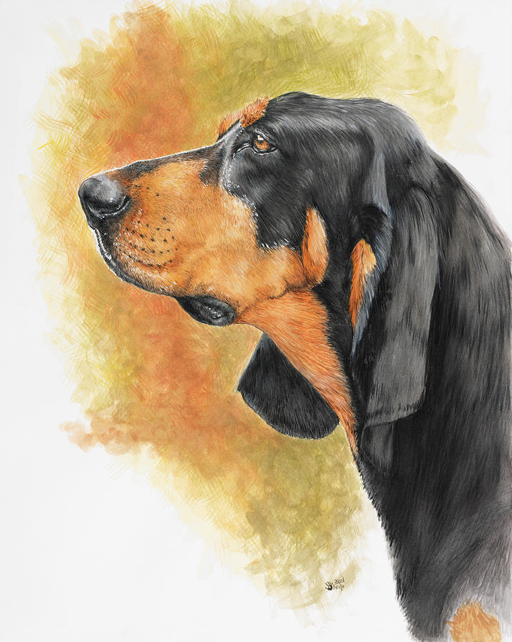 Dog Painting - Black And Tan Coonhound by Barbara Keith