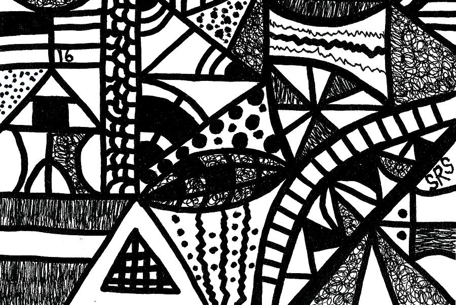 Abstract Drawing - Black And White 16 by Susan Schanerman