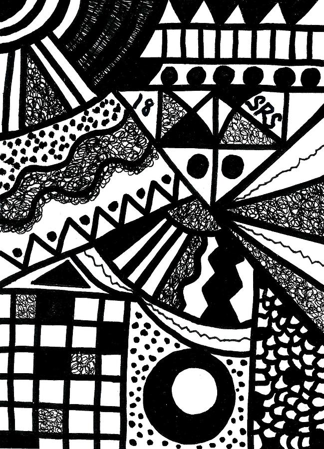 Abstract Geometric Drawing - Black And White 18 by Susan Schanerman