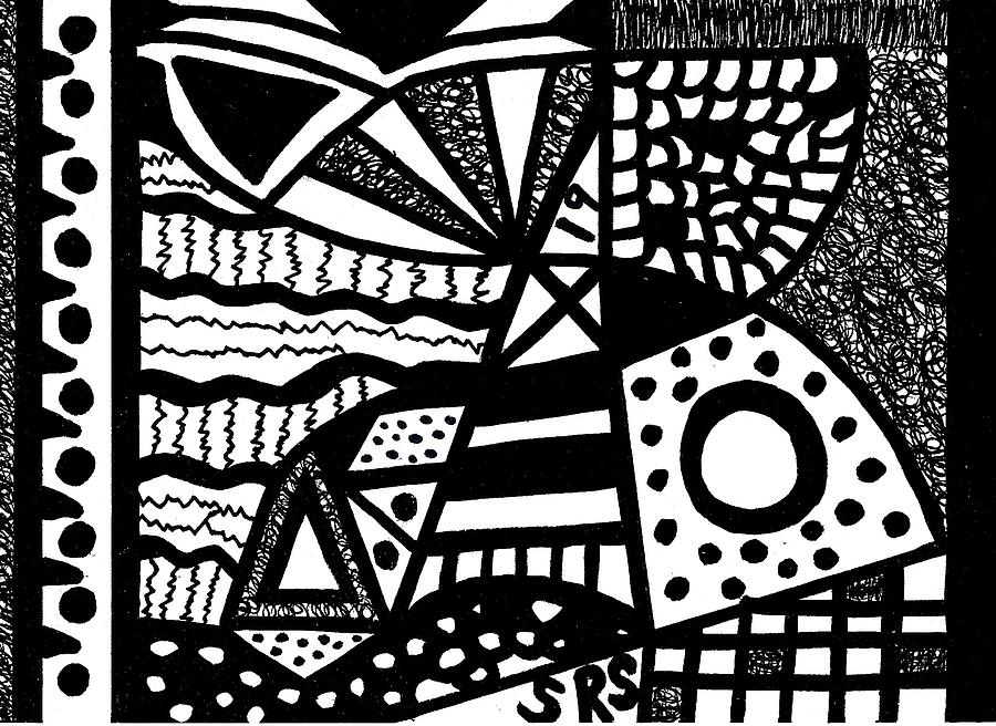 Abstract Design Drawing - Black And White 19 by Susan Schanerman