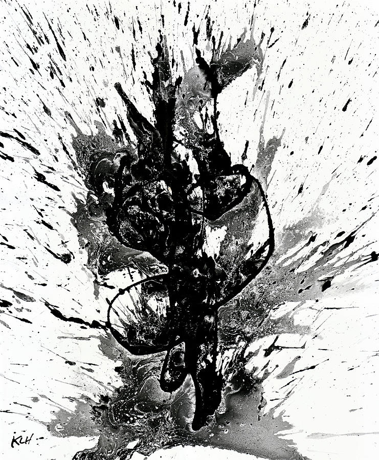 Black and white abstract expressionism series for Modern black and white wall art