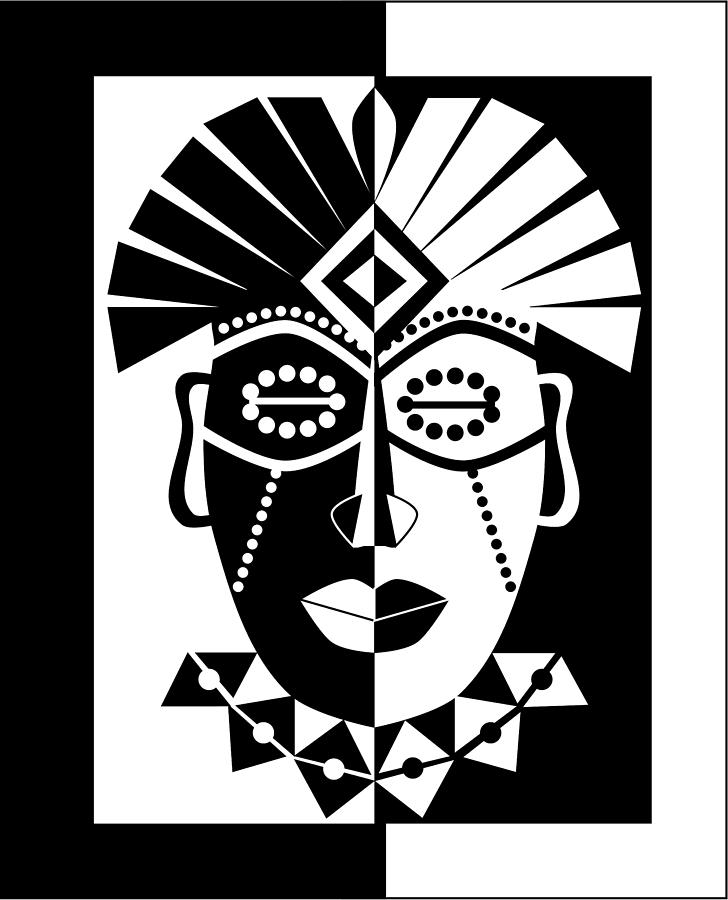 African digital art black and white african mask by karolina perlinska