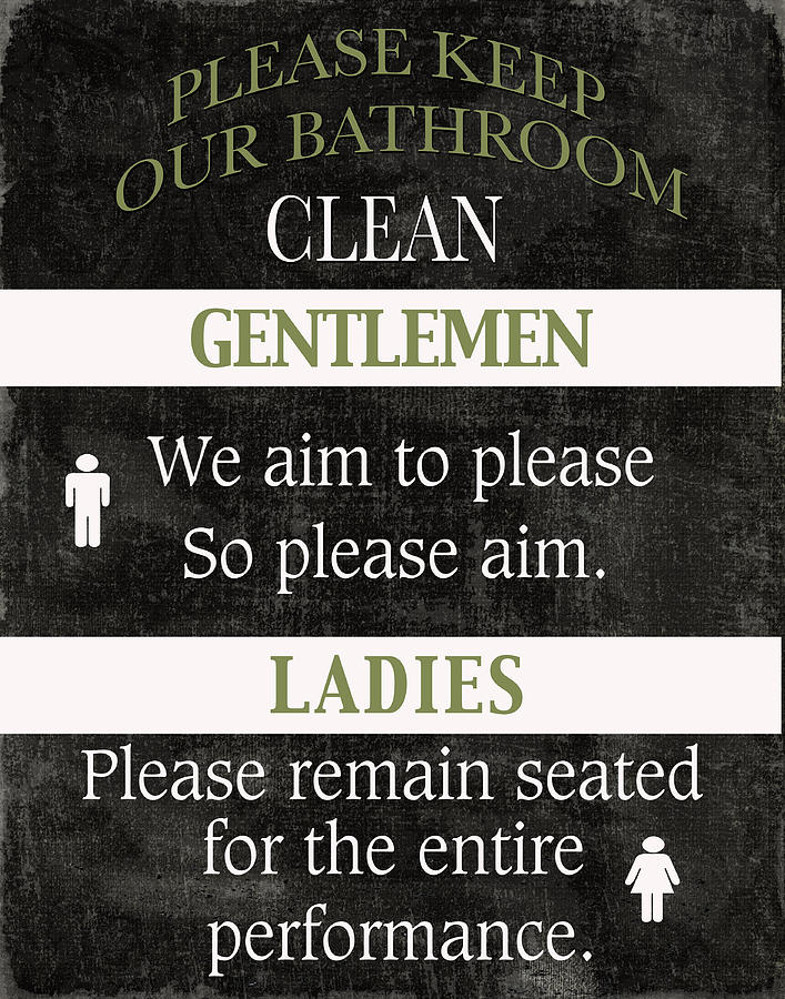 Black And White Mixed Media - Black And White Bathroom Rules by Marilu  Windvand