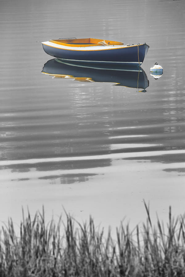 Dory Photograph - Black and White Blue Boat Reflections by Dapixara Art