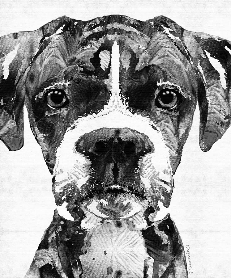 Black And White Boxer Dog Art By Sharon Cummings Painting