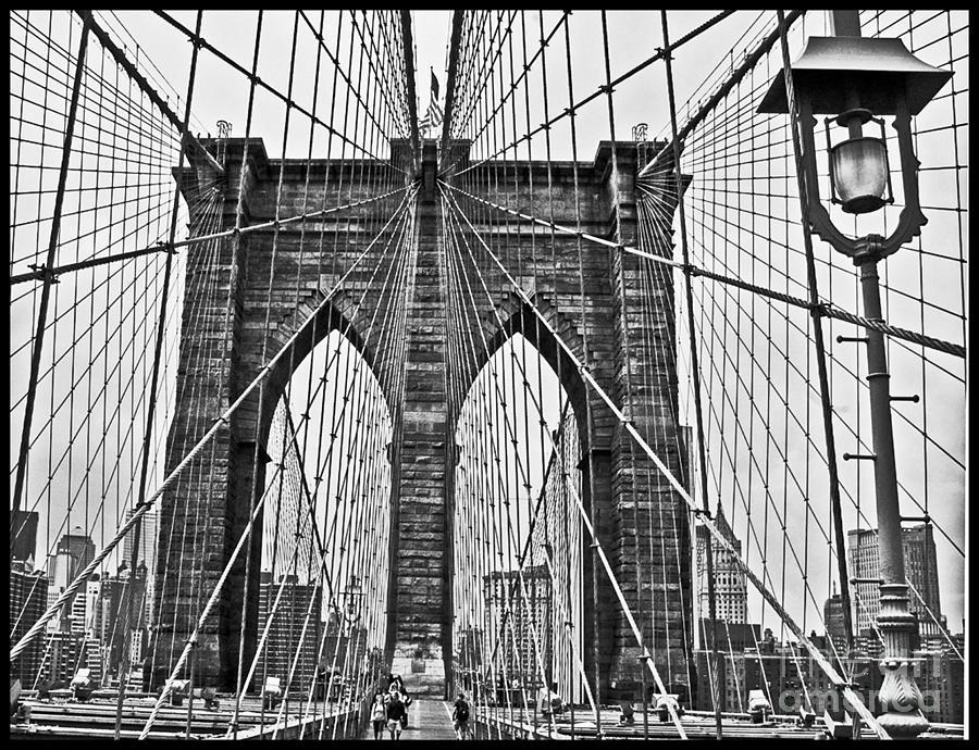 Brooklyn Bridge Photograph - Black And White Brooklyn Bridge by Allan Einhorn