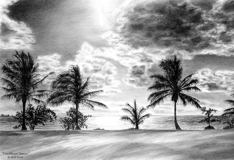 Black And White Caribbean Sunset Drawing By Kelli Swan