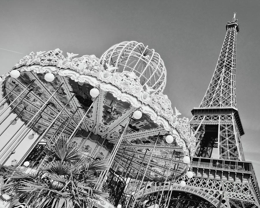 Paris Photograph - Black And White Carousel by Delphimages Photo Creations