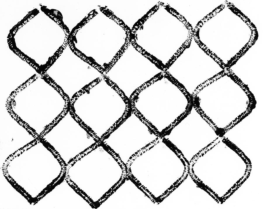 Black And White Photograph - Black And White Chain Link Fence by Gillham Studios