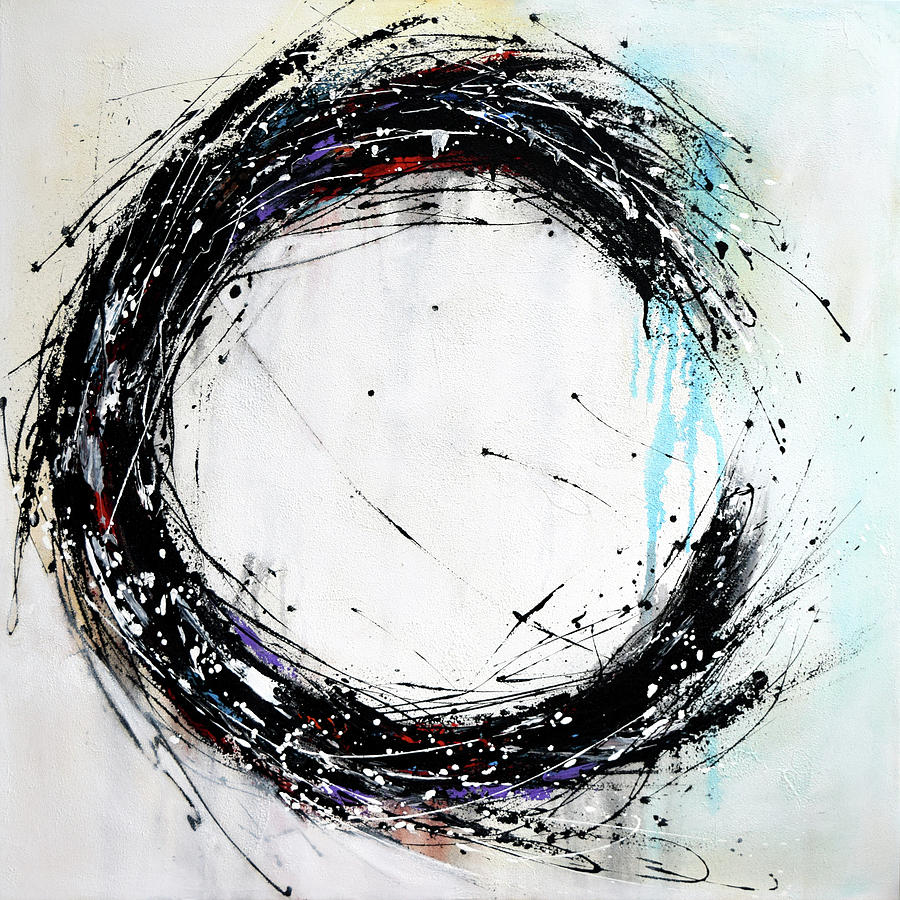 Black And White Circle Painting On Canvas Hand Painted Minimalist Modern Art Black Blue White Painting By Modern Art Home Decor