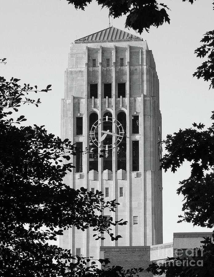 University Of Michigan Photograph - Black And White Clock Tower by Phil Perkins